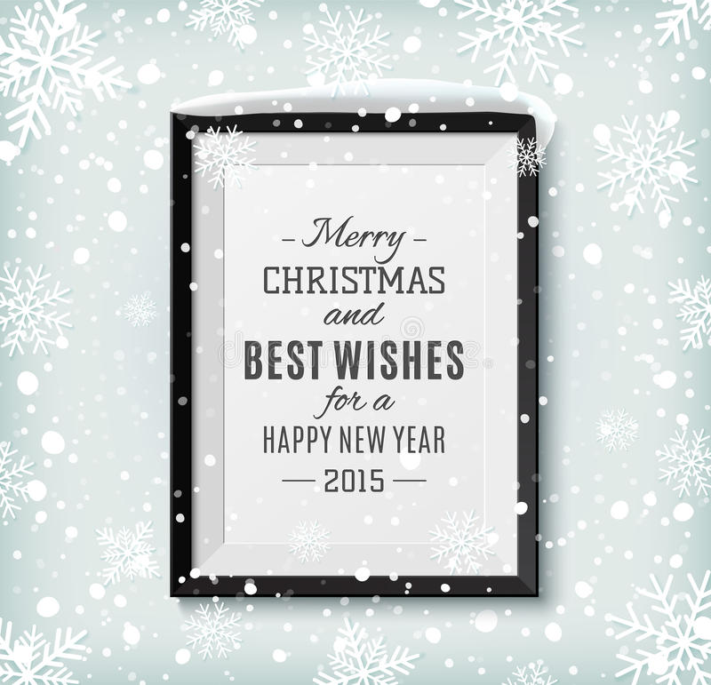 Merry Christmas and Happy New Year text label on a stock illustration