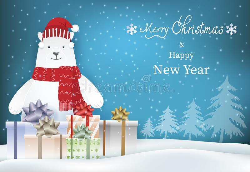 Merry Christmas, Happy New Year text with polar bear and gift boxes stock illustration