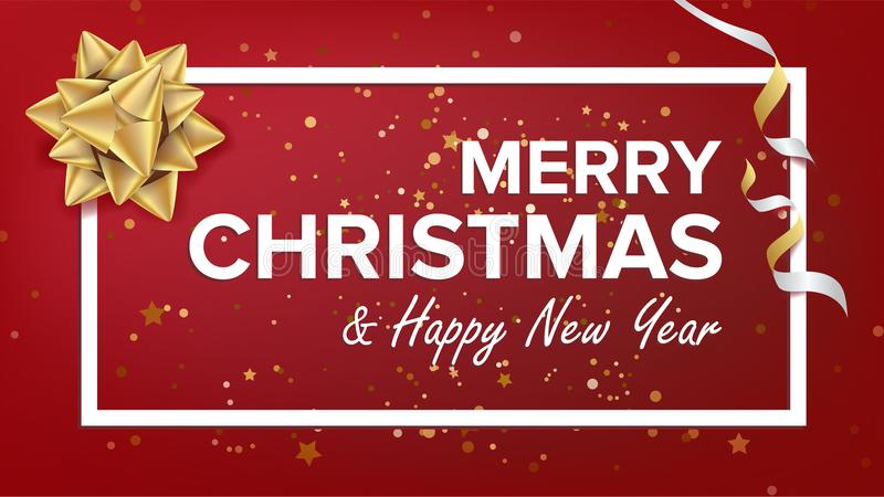 Merry Christmas And Happy New Year Text Vector. Christmas Greeting Card. Modern New Year Poster, Flyer Template Design royalty free illustration