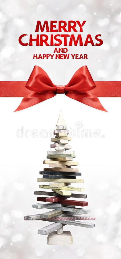 Merry christmas and happy new year text with wooden tree. And red ribbon bow vector illustration