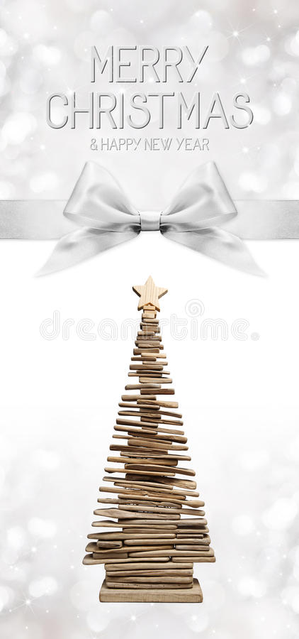 Merry christmas and happy new year text with wooden tree and silver ribbon bow royalty free illustration