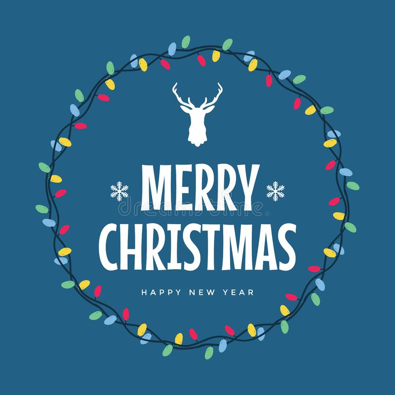 Merry Christmas and Happy New Year typographic. Vector logo, typography. Usable as banner, greeting card, gift package. vector illustration vector illustration
