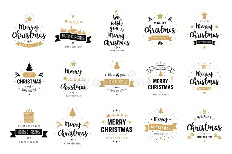 Merry Christmas. Happy New Year, typography lettering badge emblems quotes set collection. Vector logo design for postcard, stock illustration