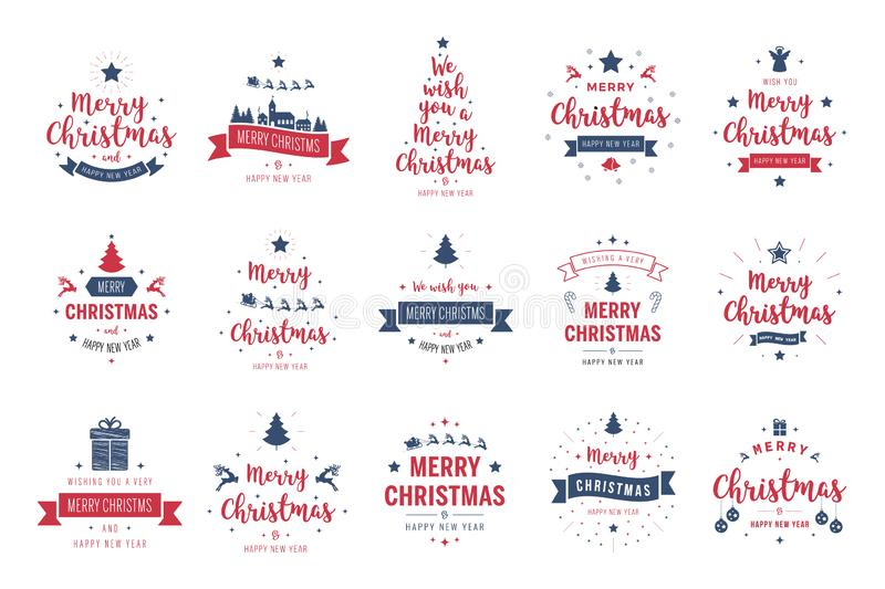 Merry Christmas. Happy New Year, typography lettering badge emblems quotes set collection. Vector logo design for postcard, royalty free illustration