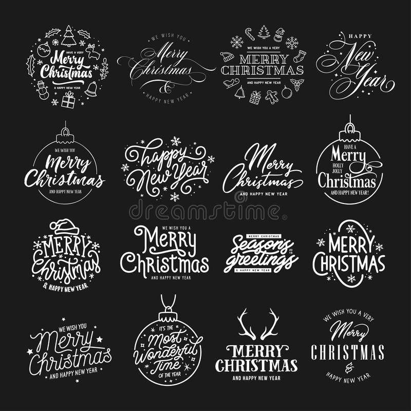 Merry Christmas and Happy New Year typography set. Vector vintage illustration. Merry Christmas and Happy New Year typography collection. Holiday related stock illustration
