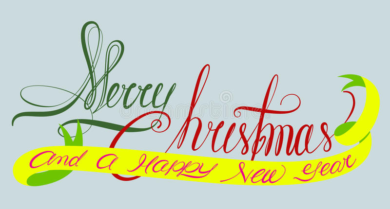 Download Merry Christmas And A Happy New Year Typography Stock Vector - Image: 33986732
