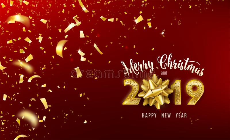 Merry Christmas and 2019 Happy New Year vector background with golden gift bow, confetti, glitter numbers. Xmas stock illustration