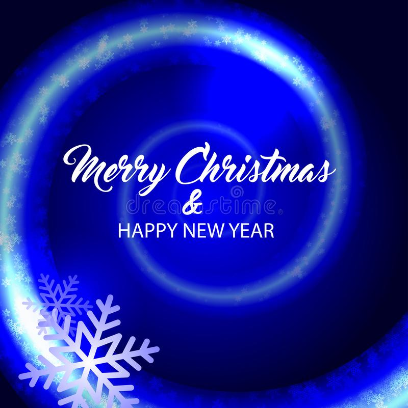 Merry christmas and happy new year. Blue background. stock illustration