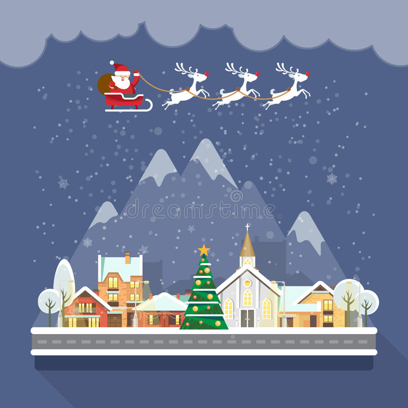Merry Christmas and a Happy New Year vector greeting card in modern flat design. Christmas town. Santa Claus with reindeers royalty free illustration