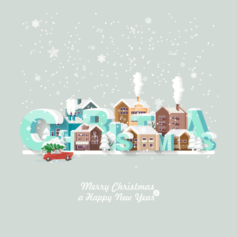 Merry Christmas and a Happy New Year vector greeting card in modern flat design. Christmas town. Snowy landscape with red car vector illustration