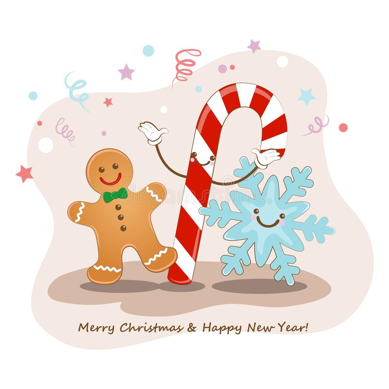 Merry Christmas and happy new year. Vector illustration. Cute picture of a Christmas cookies, snowflakes and candy. Funny greeting stock illustration