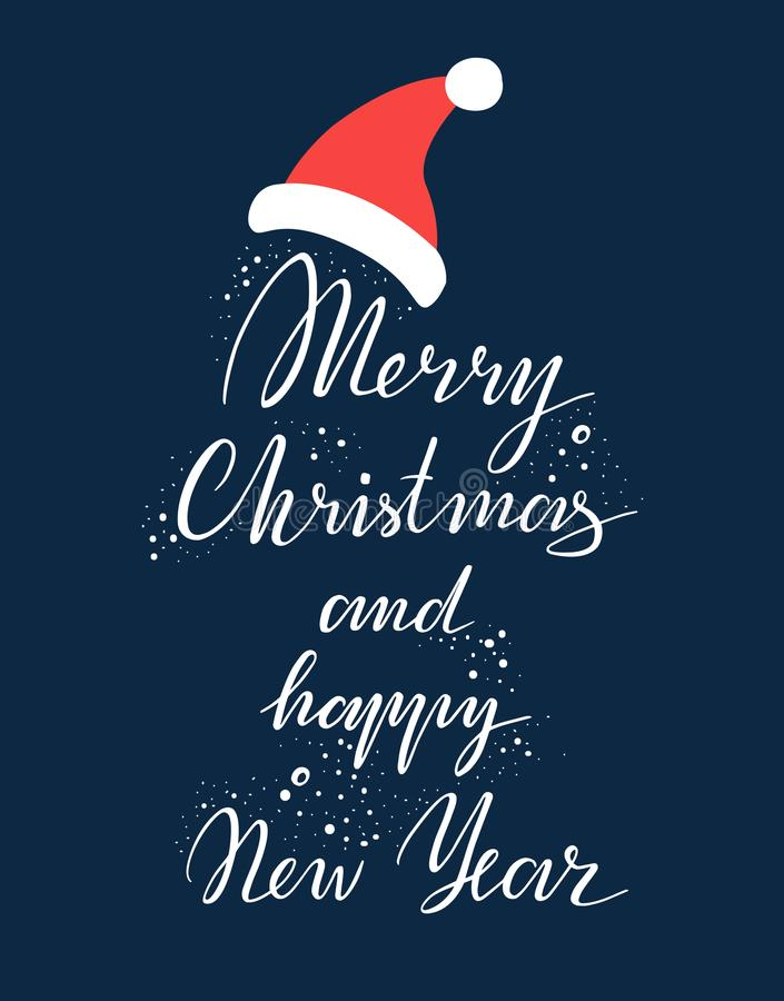 Merry Christmas and happy New Year Vector Lettering. Greeting Card. Vector illustration royalty free illustration
