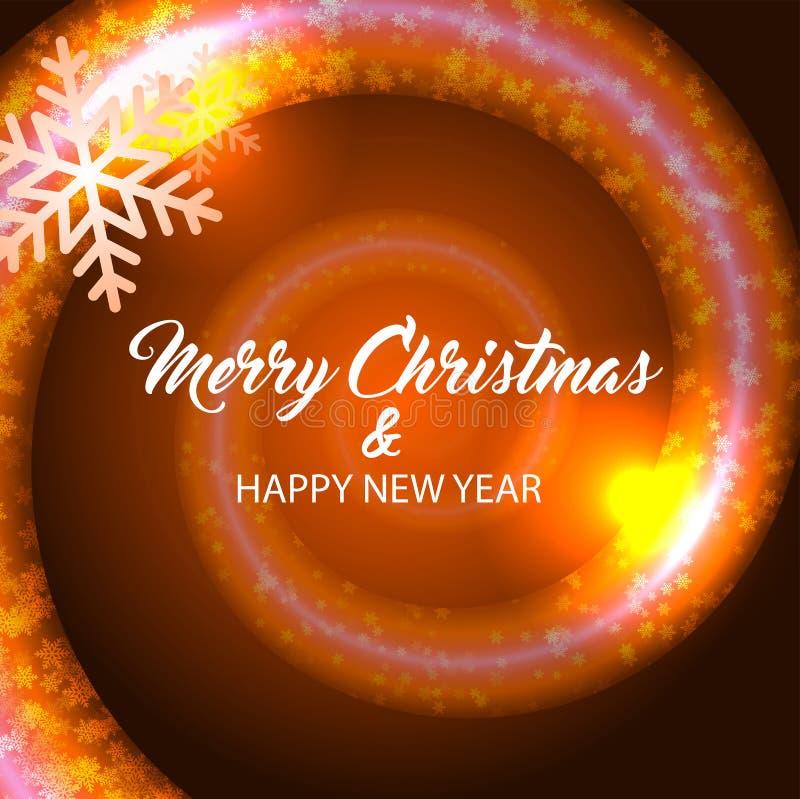 Merry christmas and happy new year. Orange background. Merry christmas and happy new year. Vector orange background stock illustration