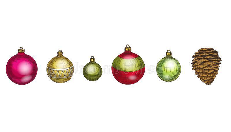 Merry Christmas and Happy New Year vector set. Cone and multicolored glass balls Isolated on white background. Winter hollidays co royalty free stock photo