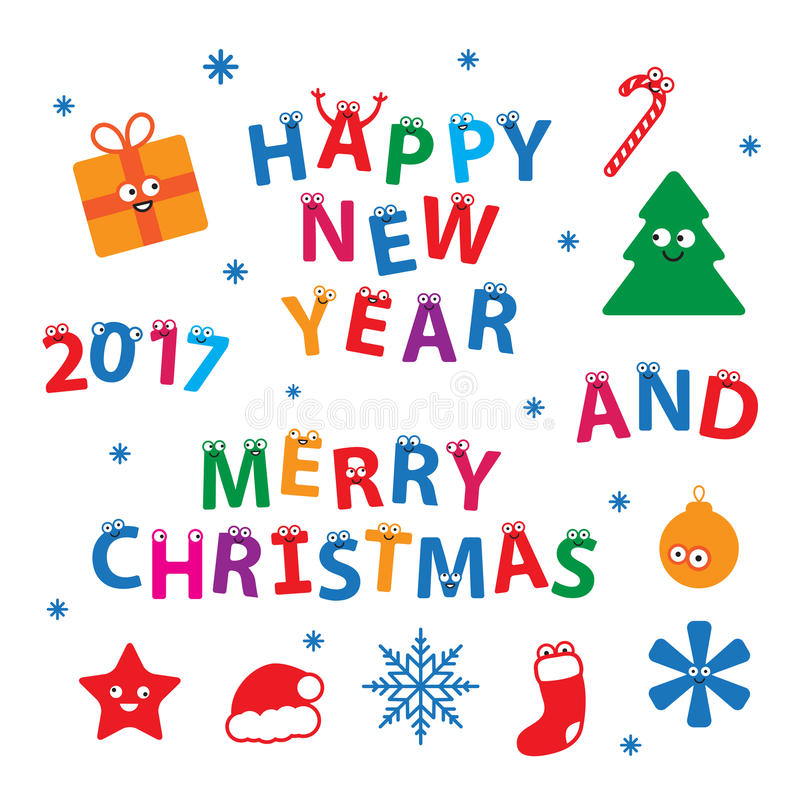 Merry Christmas and Happy New Year Vector Set vector illustration
