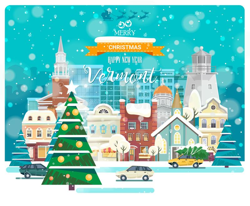 Merry Christmas and Happy New Year in Vermont. Greeting festive card from the USA. Winter snowing city with cute cozy houses vector illustration
