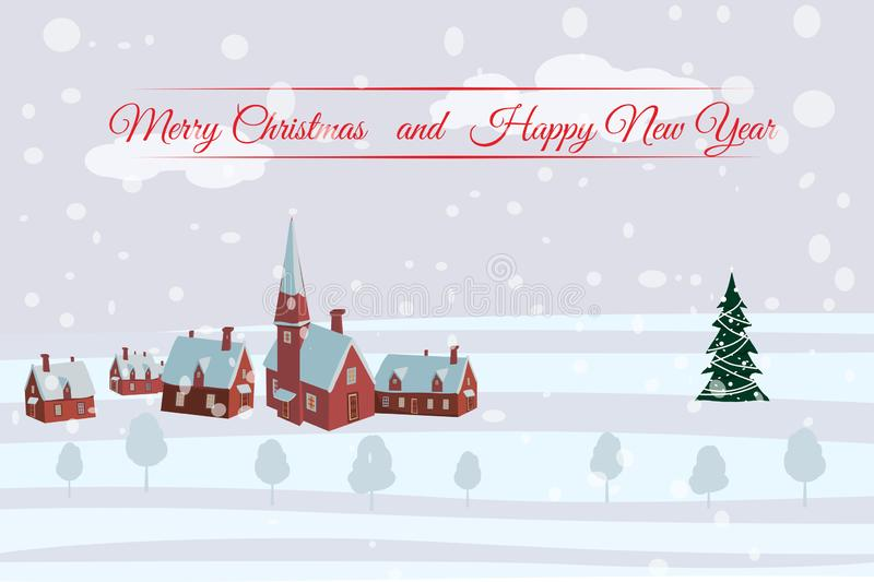 Merry Christmas and Happy New Year village houses with snow fall. Vector, cartoon style, poster, card, baner, background. Merry Christmas village with snow fall stock illustration