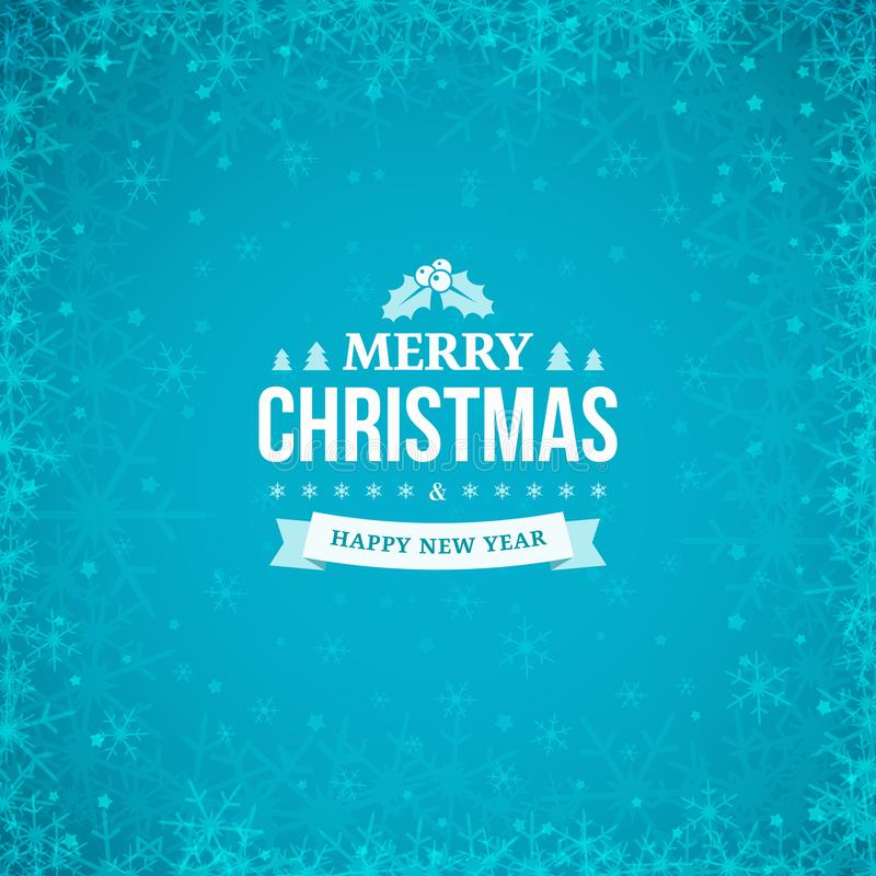 Merry Christmas and Happy New Year vintage badge on the abstract blue winter background with frame of scattered snowflakes. royalty free illustration