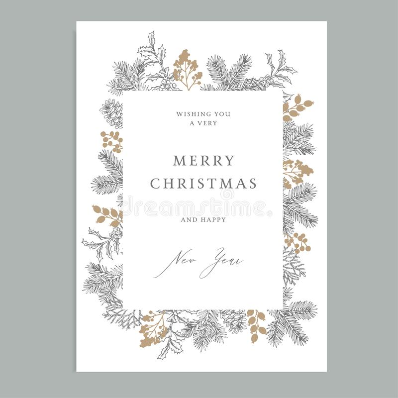 Merry Christmas, Happy New Year vintage floral greeting card, invitation. Holiday frame with evergreen fir tree branches vector illustration