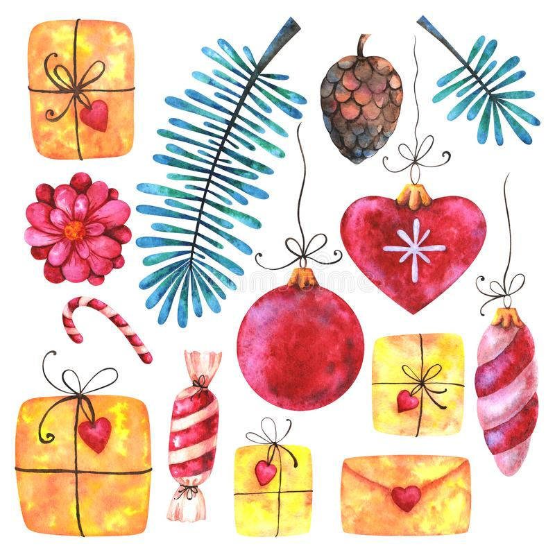 Merry Christmas and Happy New Year watercolor set royalty free illustration