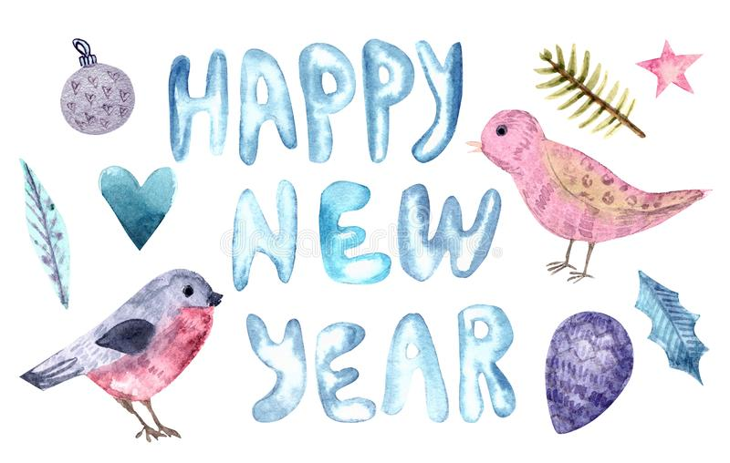 Merry Christmas and Happy New Year watercolor set stock illustration