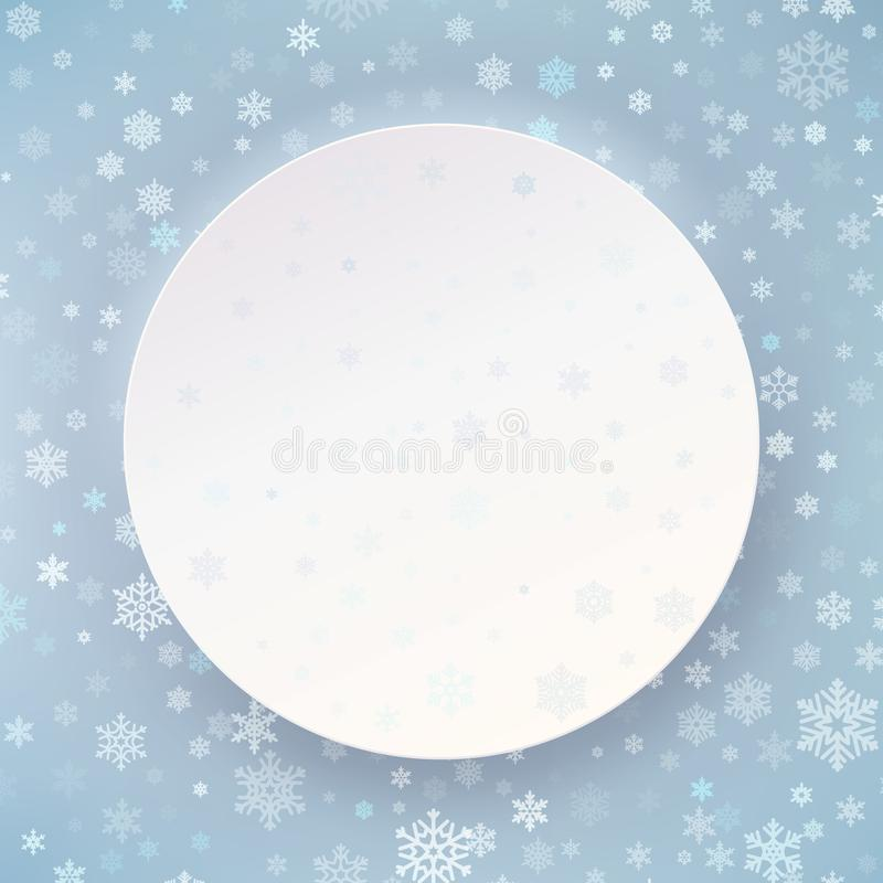Merry Christmas & Happy New Year white circle label template for placard, banner, card, flyer, poster. EPS 10 vector illustration