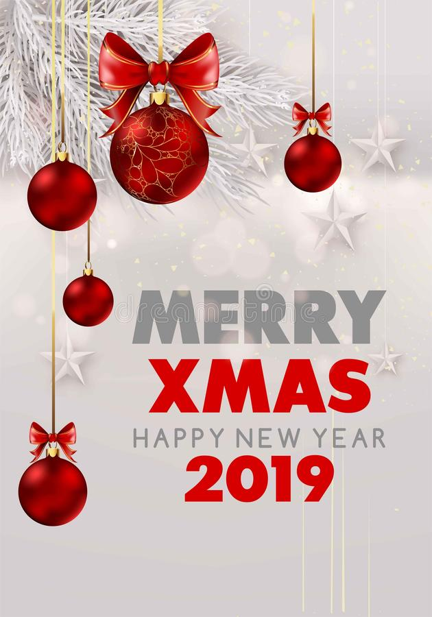 Merry Christmas and happy new year 2019 white snowy poster with fur tree branches and stars. royalty free illustration