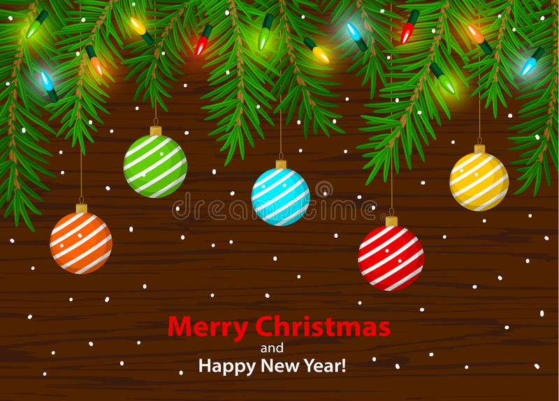 Merry Christmas and Happy New Year winter card background template with xmas tree branches and festive led glowing bulbs vector illustration
