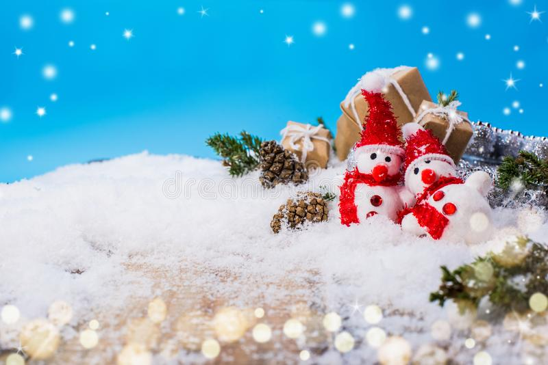 Merry Christmas and Happy New Year. Winter season. Gift and present on snow stock photos