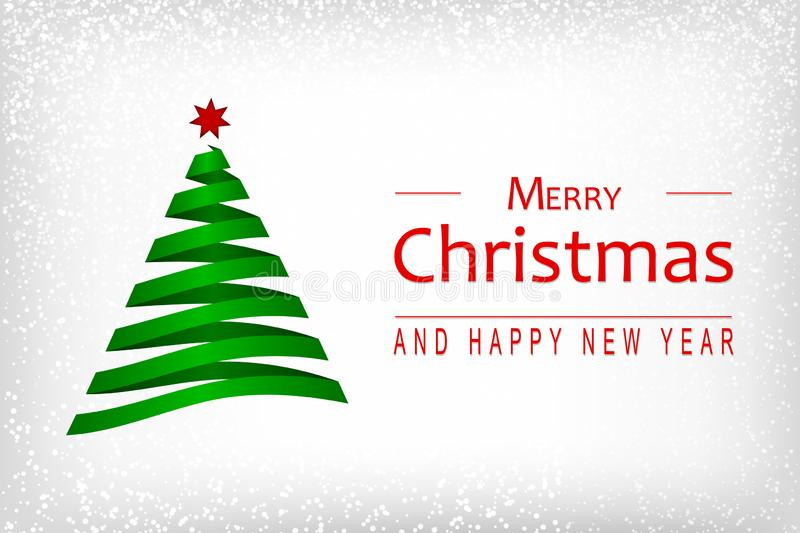 Merry Christmas and Happy New Year wishes with abstract Christmas tree and snowflakes on white background. Template for vector illustration