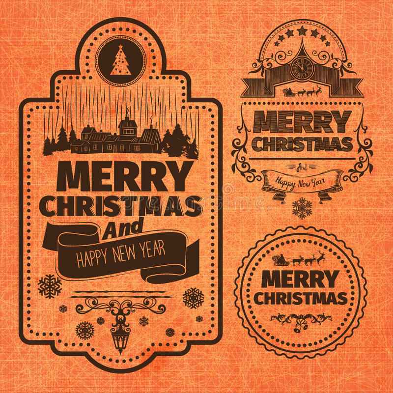 Merry Christmas And Happy New Year Wishes monochrome brown Typographic Labels and Badges set on orange stock illustration