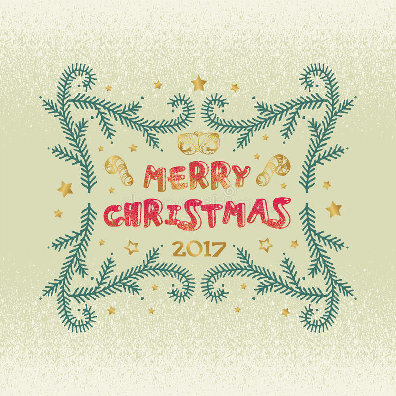 Merry Christmas and Happy New Year words on beige background. Celebration poster, banner or card with beautiful text and branch vector illustration