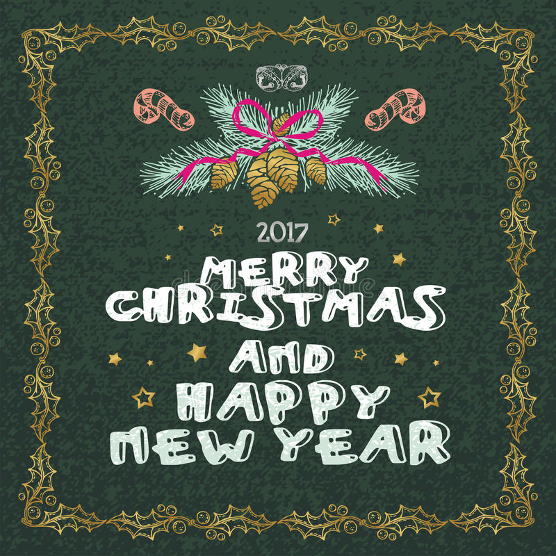 Merry Christmas and Happy New Year words on green background. Celebration poster, banner or card with beautiful text and branch vector illustration