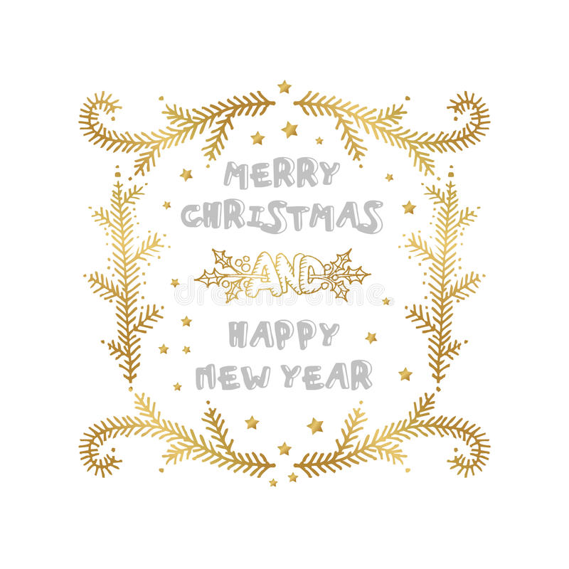 Merry Christmas and Happy New Year words on white background. Celebration poster, banner or card with beautiful text and branch royalty free illustration