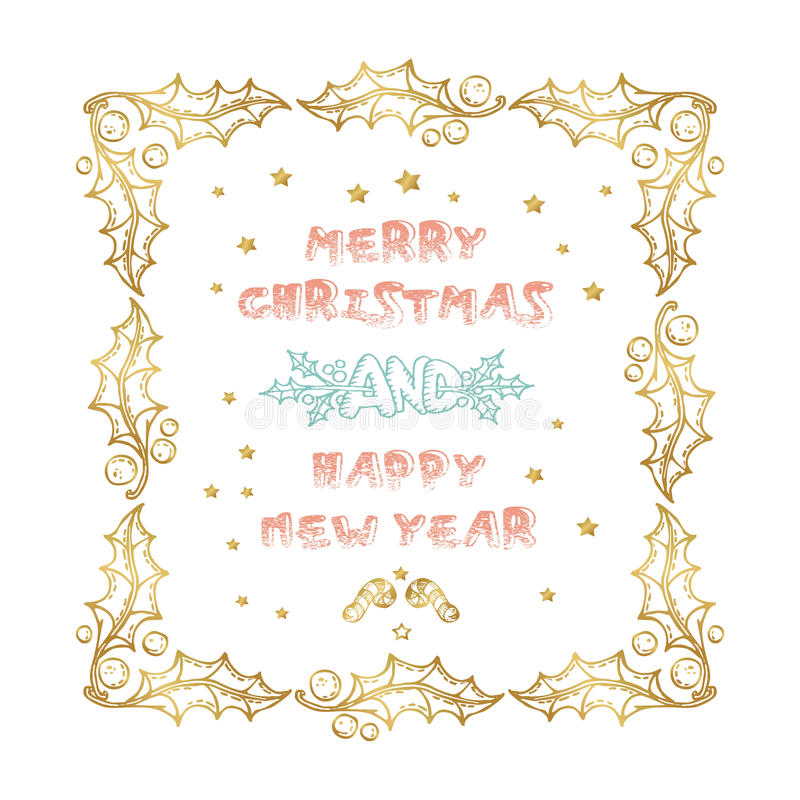 Merry Christmas and Happy New Year words on white background. Celebration poster, banner or card with beautiful text and branch stock illustration