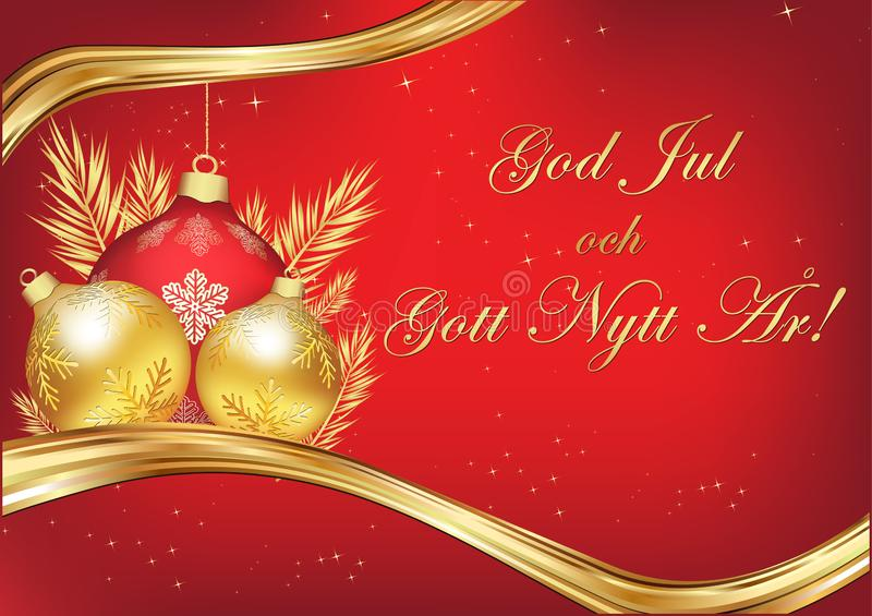 Merry Christmas and Happy New Year written in Swedish, season`s greeting card. Merry Christmas and Happy New Year - red greeting card with text written in stock illustration