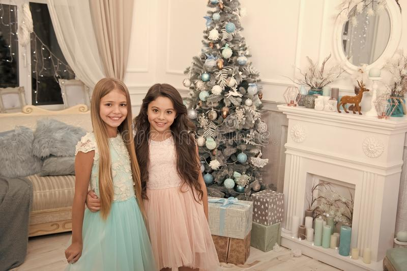 Merry Christmas and Happy New Year. xmas online shopping. Family holiday. Happy new year. Winter. The morning before. Xmas. Little girls. Christmas tree and stock image