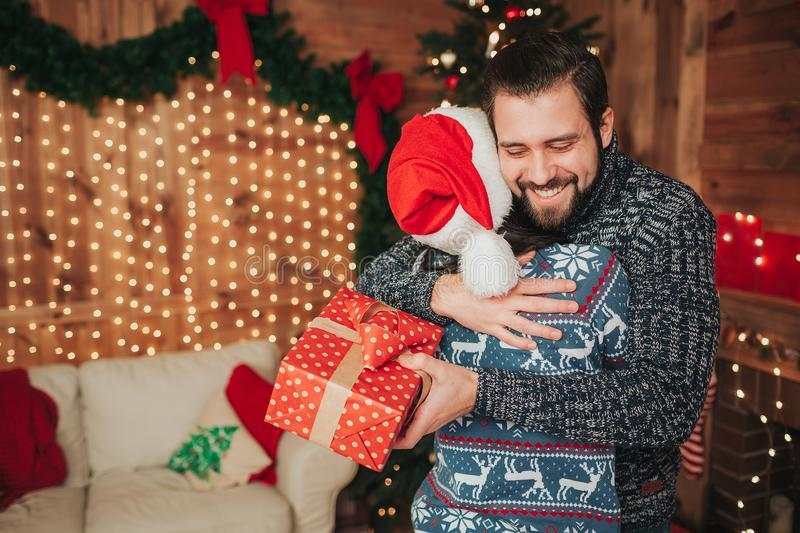 Download Merry Christmas And Happy New Year Young Couple Celebrating Holiday At Home