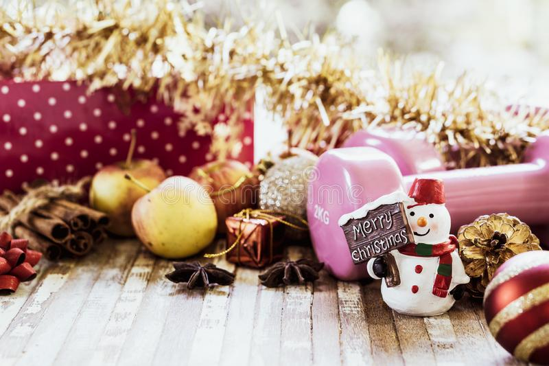 Merry Christmas and Happy new years fitness healthy active lifestyle and dieting concept. Merry Christmas and Happy new years fitness healthy active lifestyle royalty free stock image