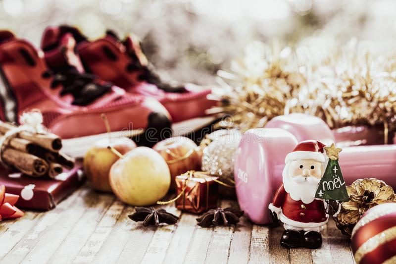 Merry Christmas and Happy new years fitness healthy active lifestyle and dieting concept. Merry Christmas and Happy new years fitness healthy active lifestyle stock images