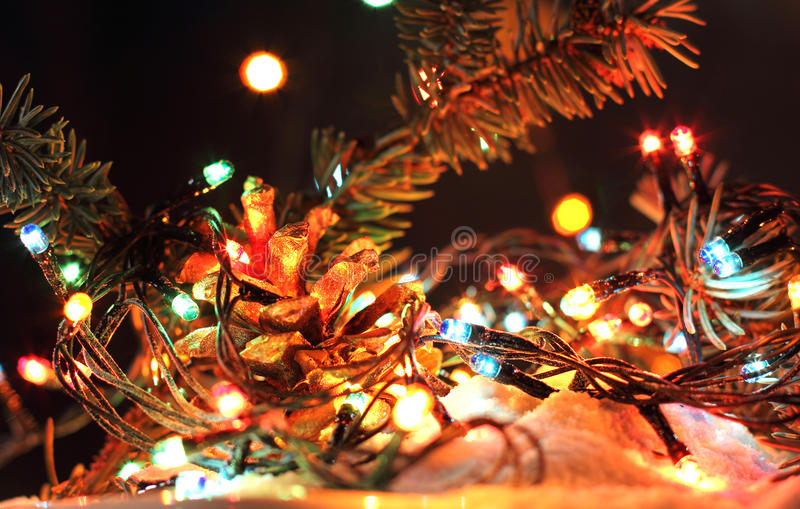 Merry Christmas, Happy New Years garland colorful lights in night snow. With bokeh dark colorful background. Green brunch tree and gold fir-cone stock photos