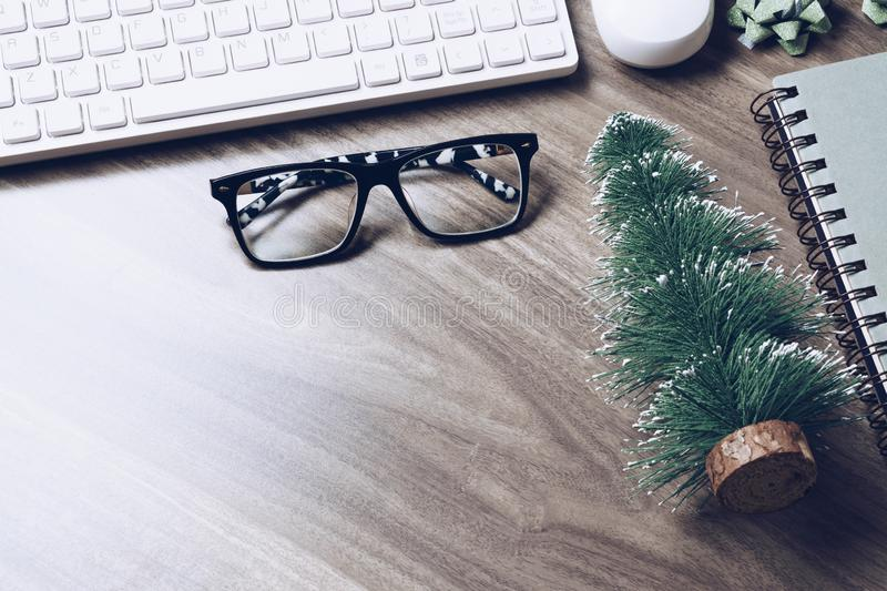 Merry Christmas and Happy new years office desk concept. top vie. W with copy space stock image