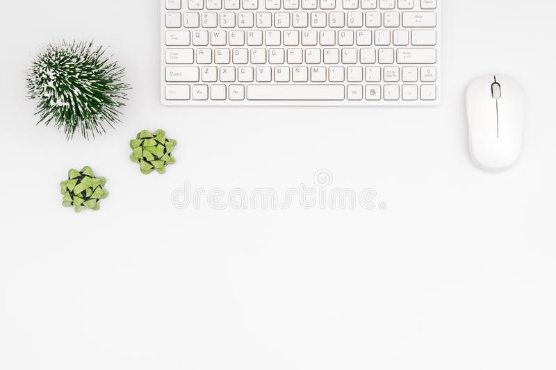 Merry Christmas and Happy new years office desk. Flat lay top vi. Ew with copy space royalty free stock image