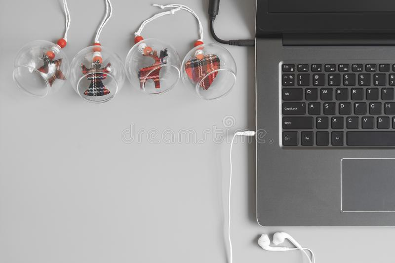 Merry Christmas and Happy new years office work space desktop co. Ncept. Flat lay top view with copy space royalty free stock photography