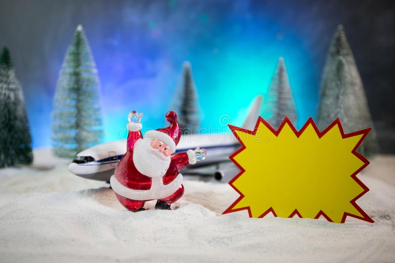 Merry Christmas and Happy new years travel concept background for winter trip on wood background , Travel with airplane top view stock photos