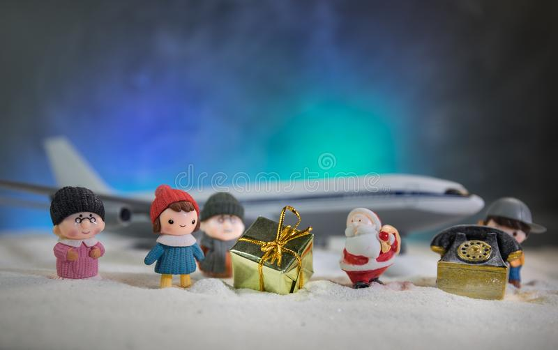 Merry Christmas and Happy new years travel concept background for winter trip on wood background , Travel with airplane top view. Merry Christmas and Happy new royalty free stock image