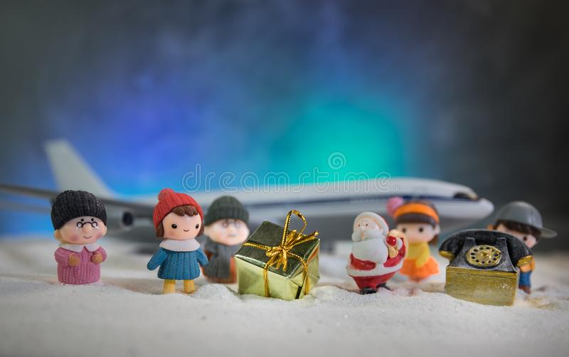 Merry Christmas and Happy new years travel concept background for winter trip on wood background , Travel with airplane top view. Merry Christmas and Happy new royalty free stock photos
