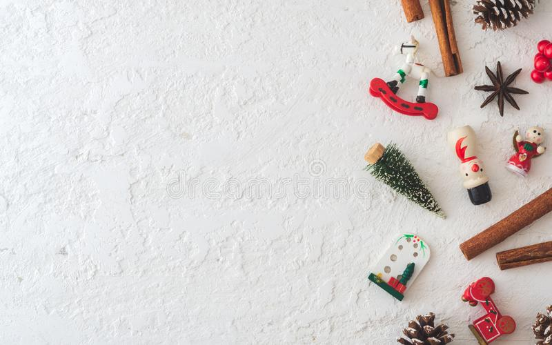 Merry Christmas and Happy newyear flat lay background on grunge white wood with copy space for your text. Vintage Retro. Top, view, above, boards, border, box royalty free stock image