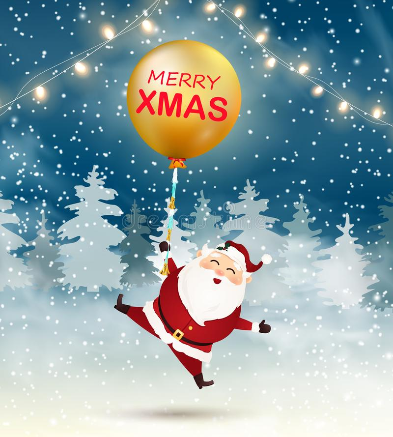 Merry Christmas. Happy Santa Claus with big gold balloon in snow scene. Winter Christmas Woodland Landscape vector illustration
