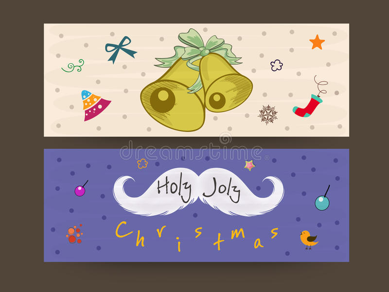 Merry Christmas header or banner. Merry Christmas webiste hearder or banner with jingle bell, christmas objects and moustache vector illustration